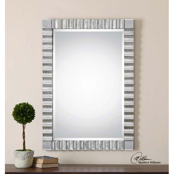 Details About Scalloped Mirrors Rectangular Beveled Wall Mirror Modern Large 43 Vanity Decor