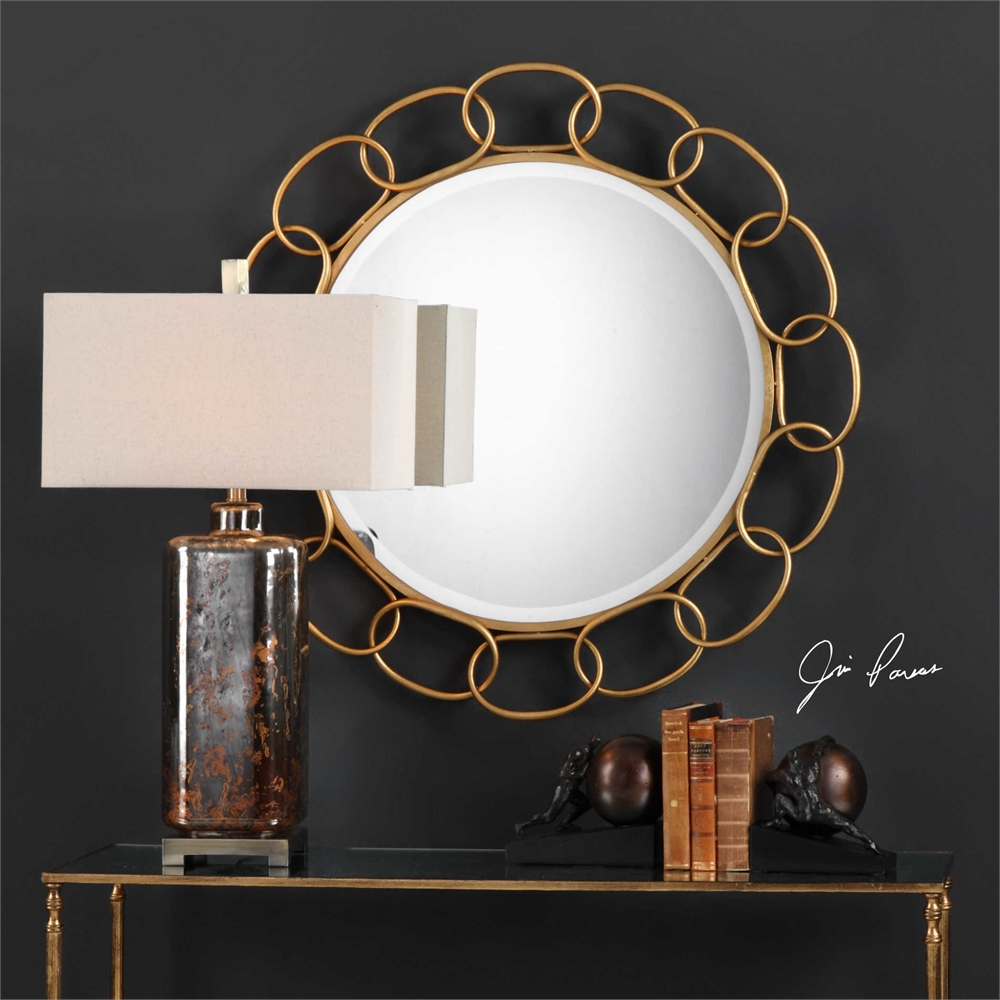 Gold Iron Chain Link Round Wall Mirror Large 36 Quot Modern