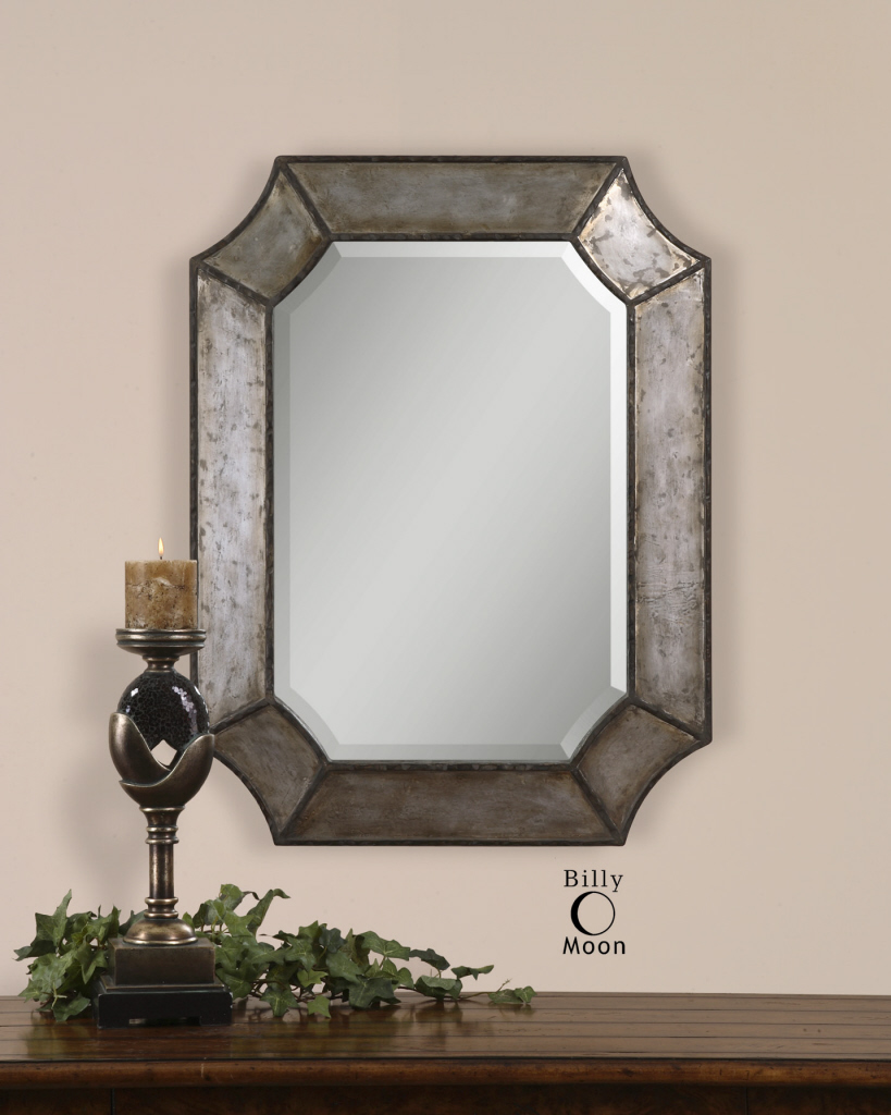 Octagonal Silver Bronze Beveled Wall Mirror Distressed Hammered Aluminum Large 3
