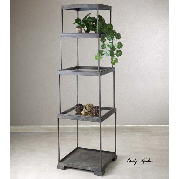 Urban Stacked Cubes Metal & Glass Etagere Shelf Unit