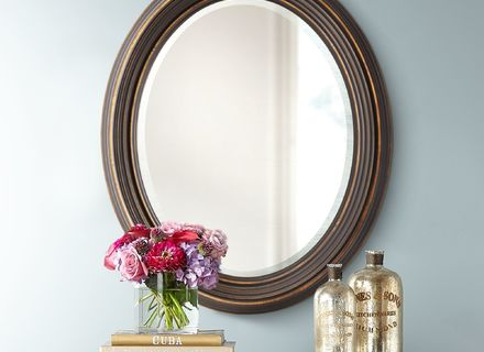Dark Oil Rubbed Bronze Beveled Oval Wall Mirror 34 Bathroom Vanity Powder Room 759526406505 Ebay