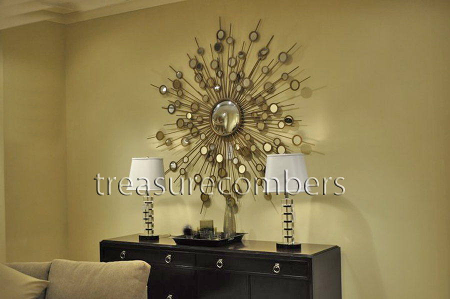 Raindrops Gold Convex Wall Mirror Sunburst Starburst