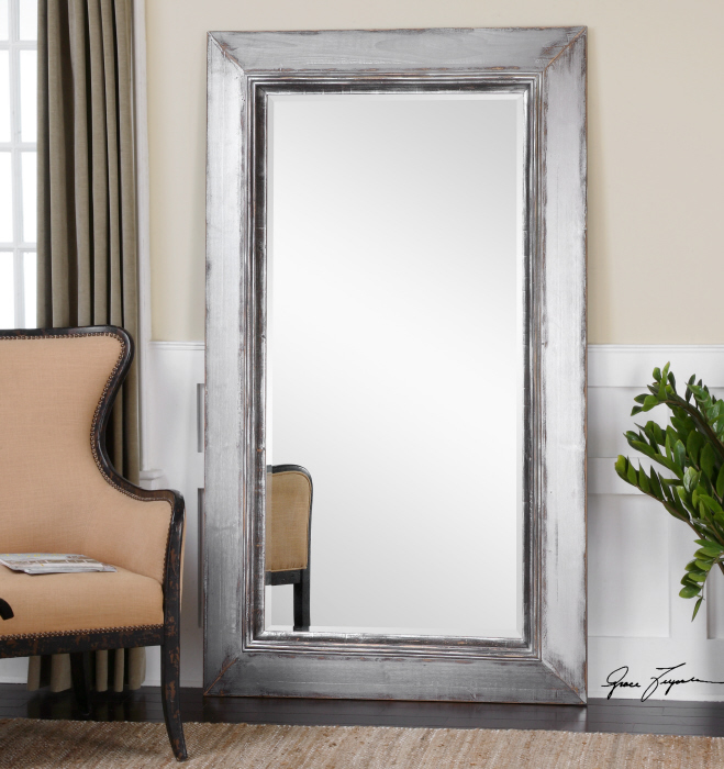Large Oversized Aged Silver Wall Floor Mirror Xl 74 Dressing