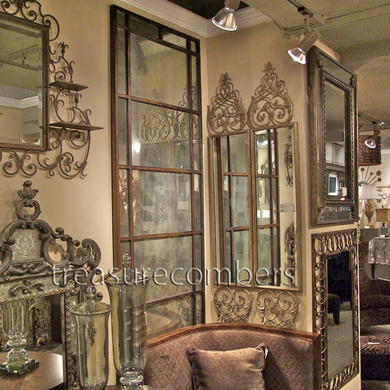 Antiqued Architectural Window Mirror Wall Or Floor Leaner