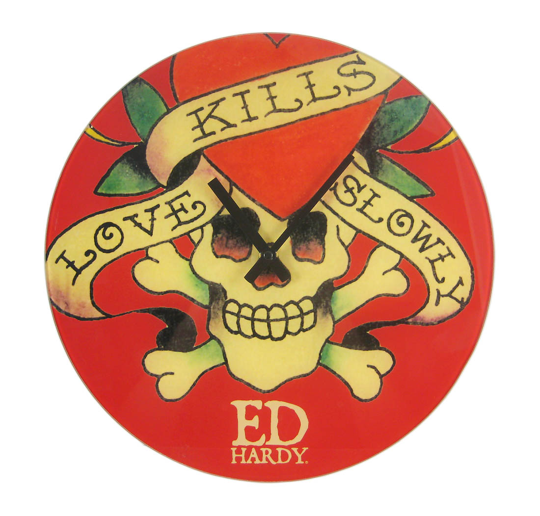 Ed Hardy Love Kills Slowly Glass Clock 13 Inch Wall Clocks