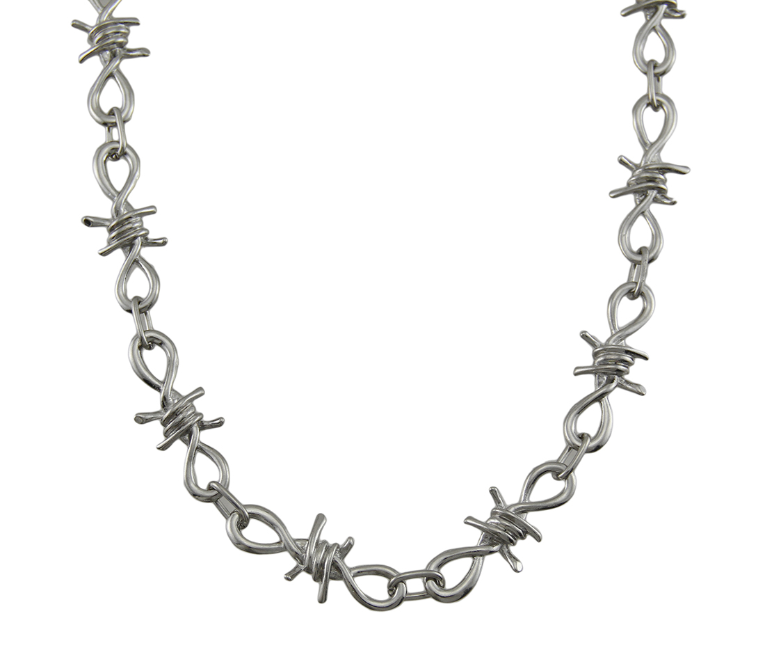 Chrome Plated Barbed Wire Wallet Chain Jeans - Zeckos