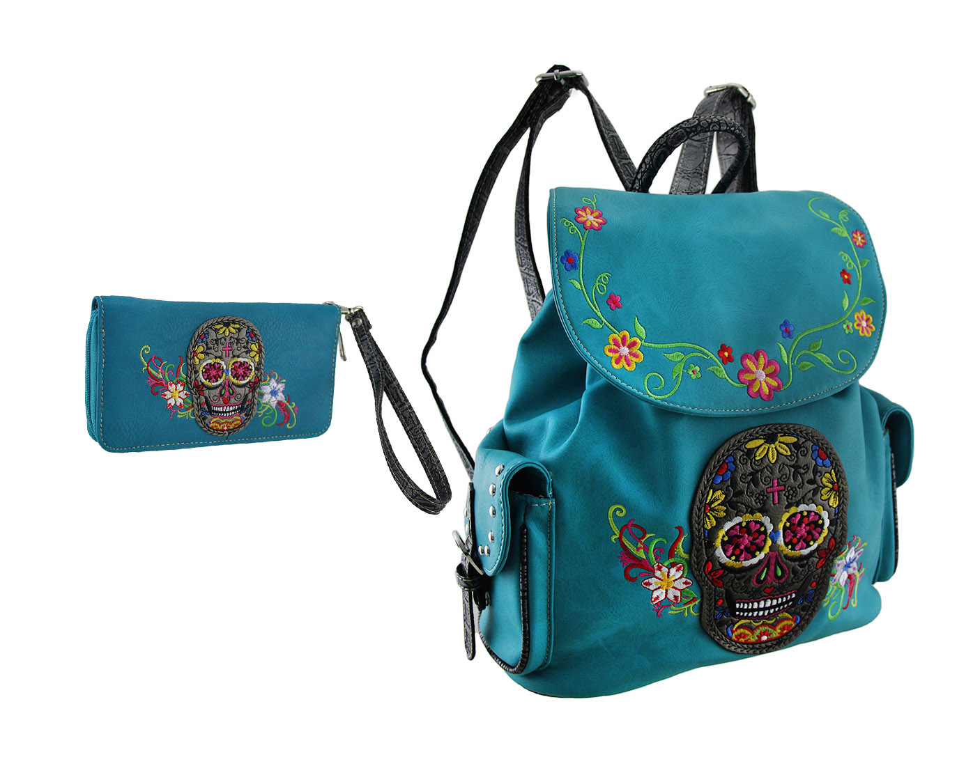 Turquoise Embroidered Sugar Skull Concealed Carry Backpack/Wallet Set
