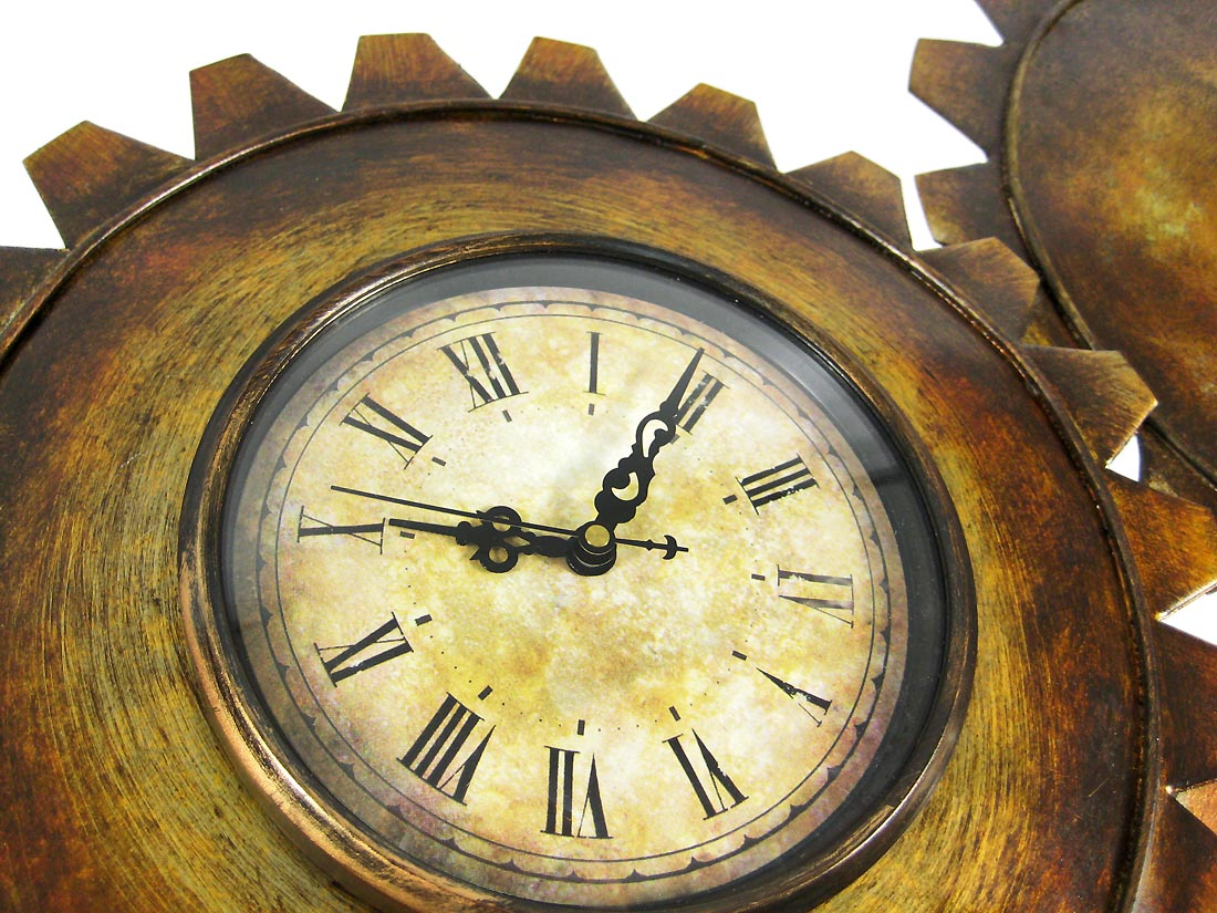 Antiqued Finish Metal Gears Wall Clock Steampunk Decor - Zeckos
