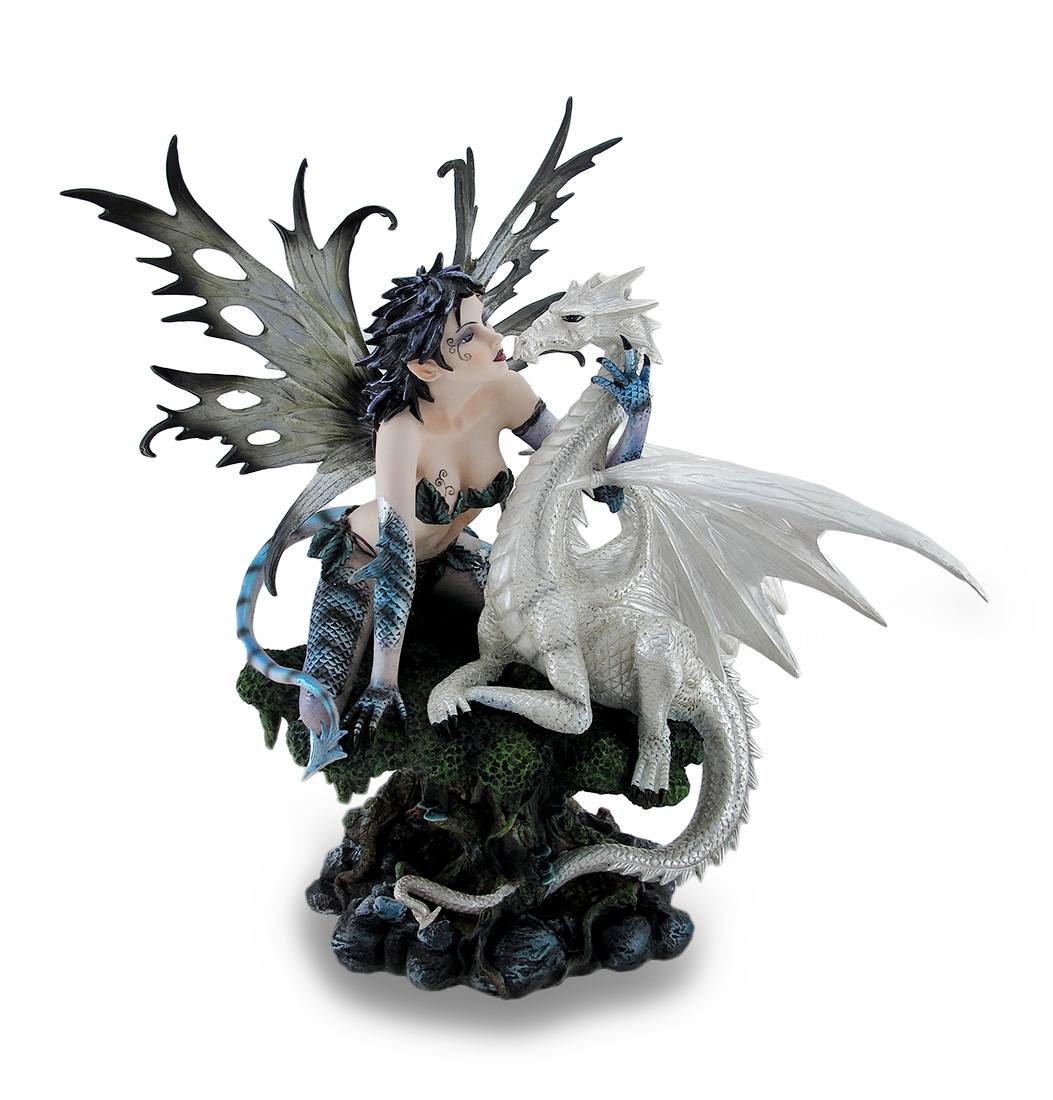 Zeckos Blue Dragon Fairy w/Tail and White Snow Dragon Sculpted Statue