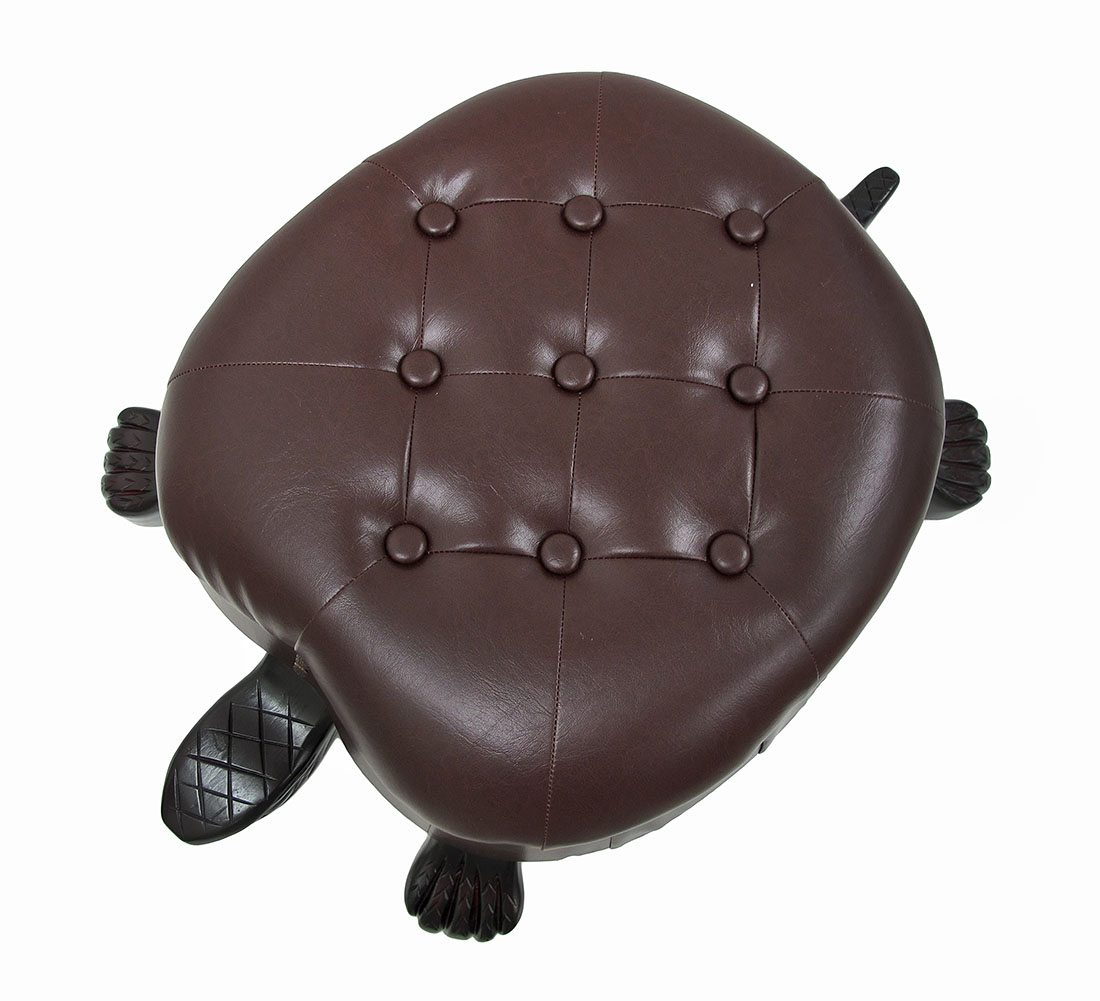 Elegant Walnut Finish Turtle Ottoman Foot Stool Ebay
