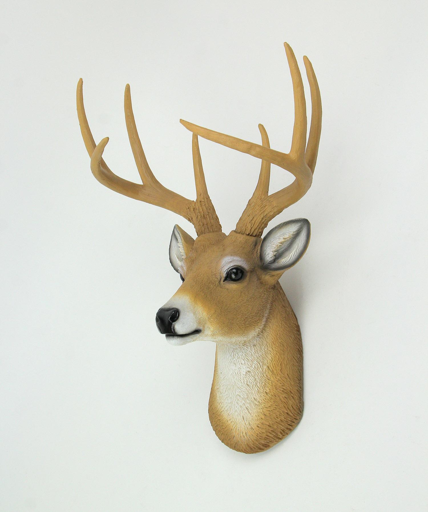 thumbnail 3 - Deer Head Buck Horns Wall Mounted Antler Trophy Faux Taxidermy Sculpture