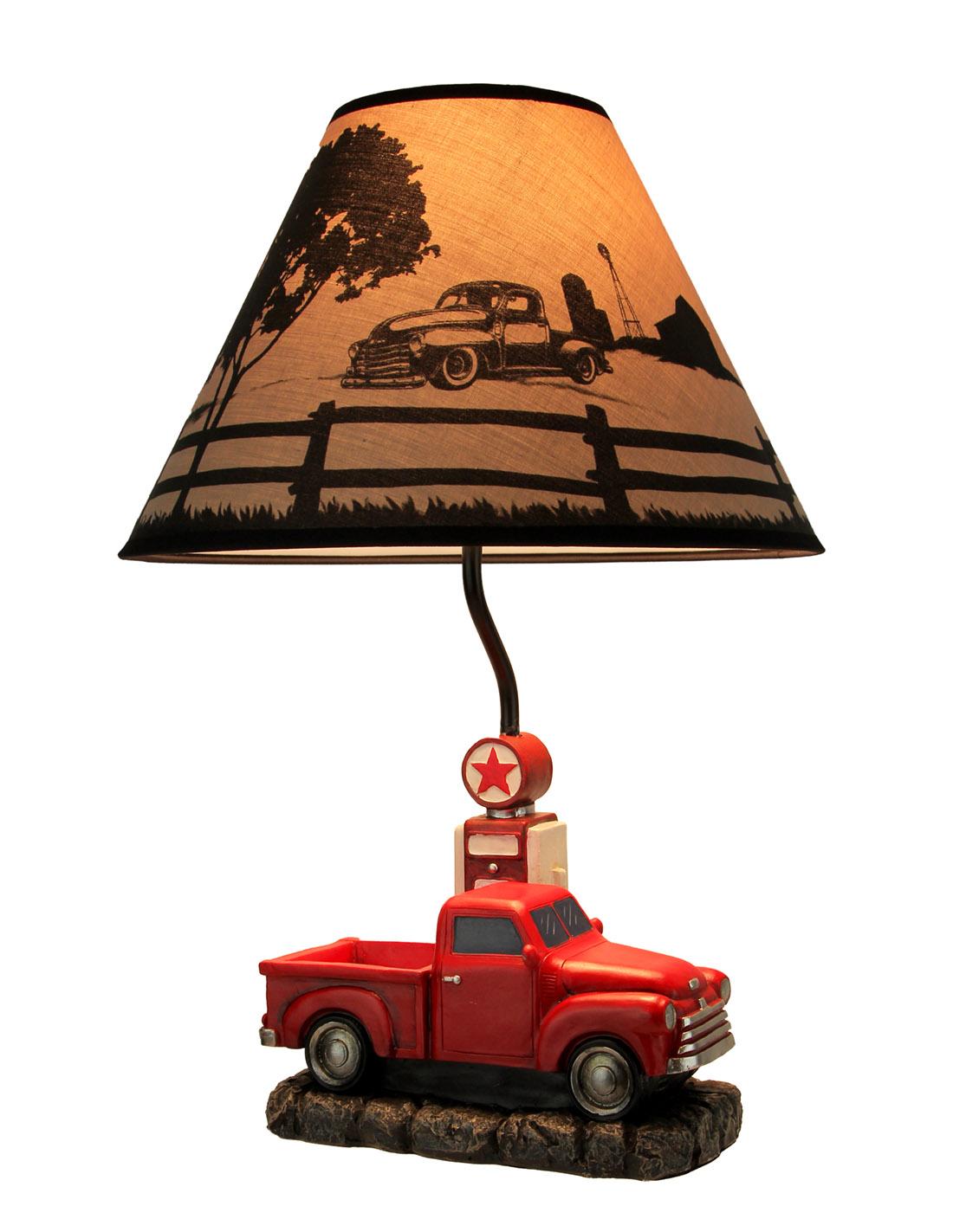 Camion Antiguo Rustico Rojo En La Bomba De Gas Lampara De Mesa Con Pantalla De Impreso Ebay