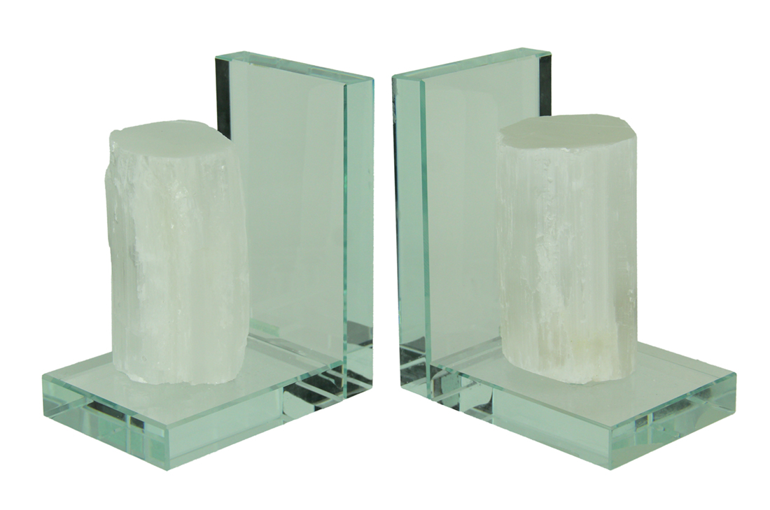 Beautiful Natural Selenite Specimen Bookends On Glass Bases