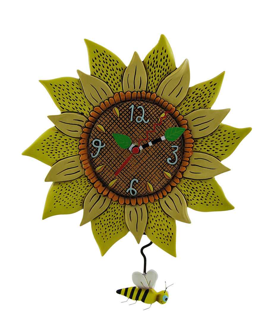 Allen Designs Bee Sunny Sunflower Wall Clock with Bee Pendulum - Zeckos