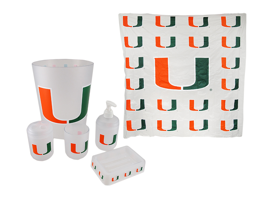 Miami Hurricanes Frosted Finish 7 Piece Bath Set - Zeckos