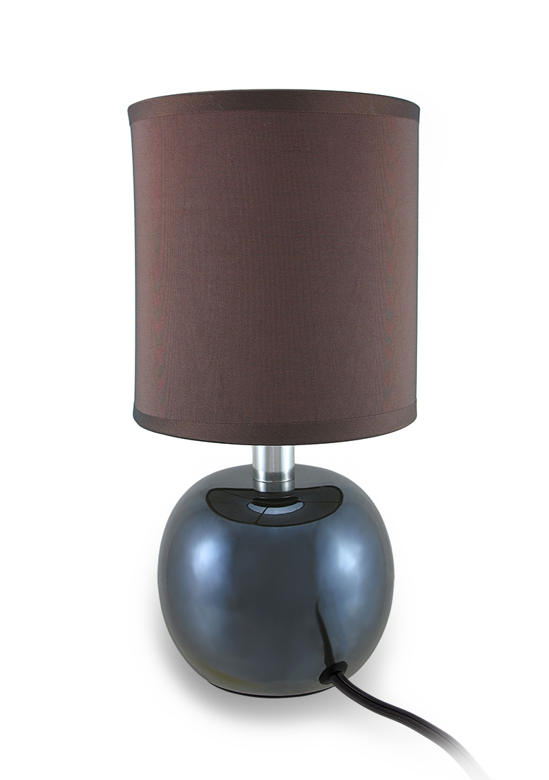 Round Ceramic Accent Lamp With Fabric Covered Cylinder