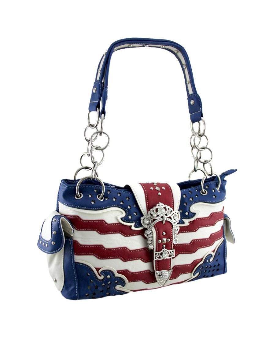Zeckos American Flag Rhinestone Buckle Western Style Concealed Carry Handbag