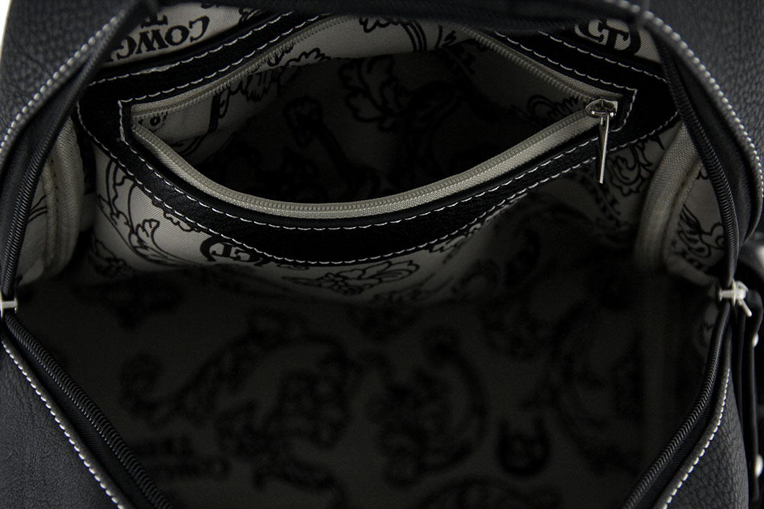 Embroidered Skull Small Studded Leather Texture Backpack w  Stitch ... 67b158de0d7d3