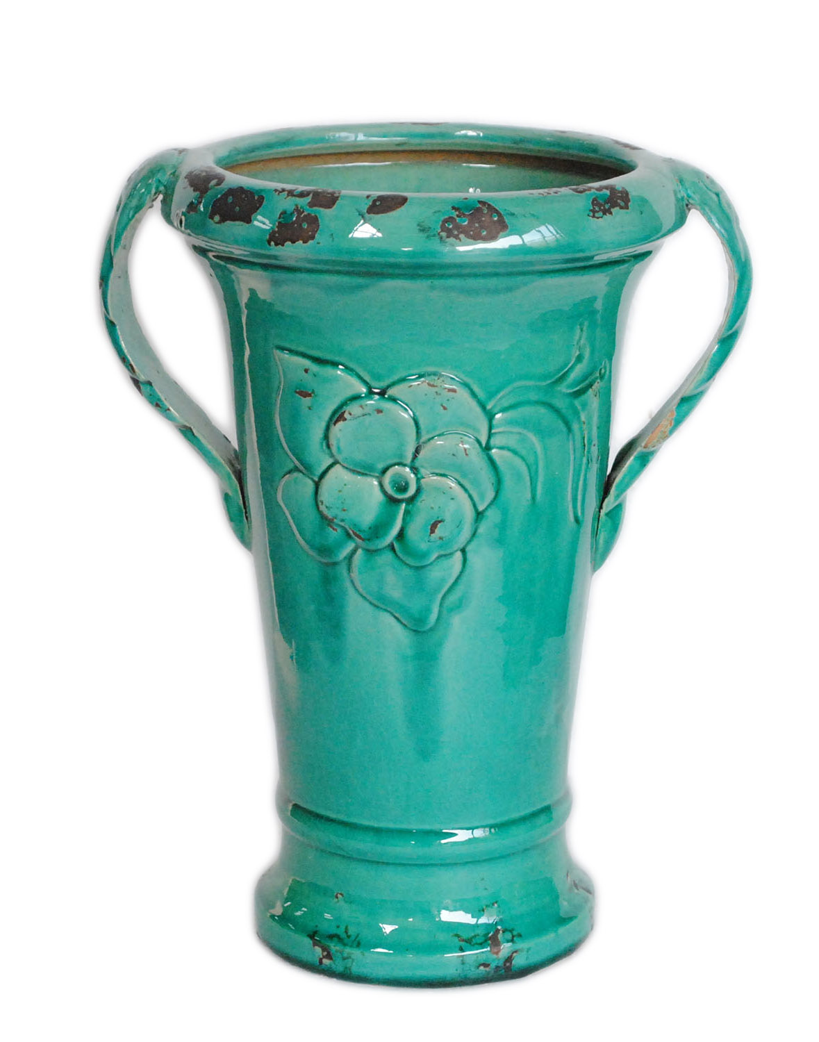 Distressed Green Ceramic 14 Inch Vase With Double Handles
