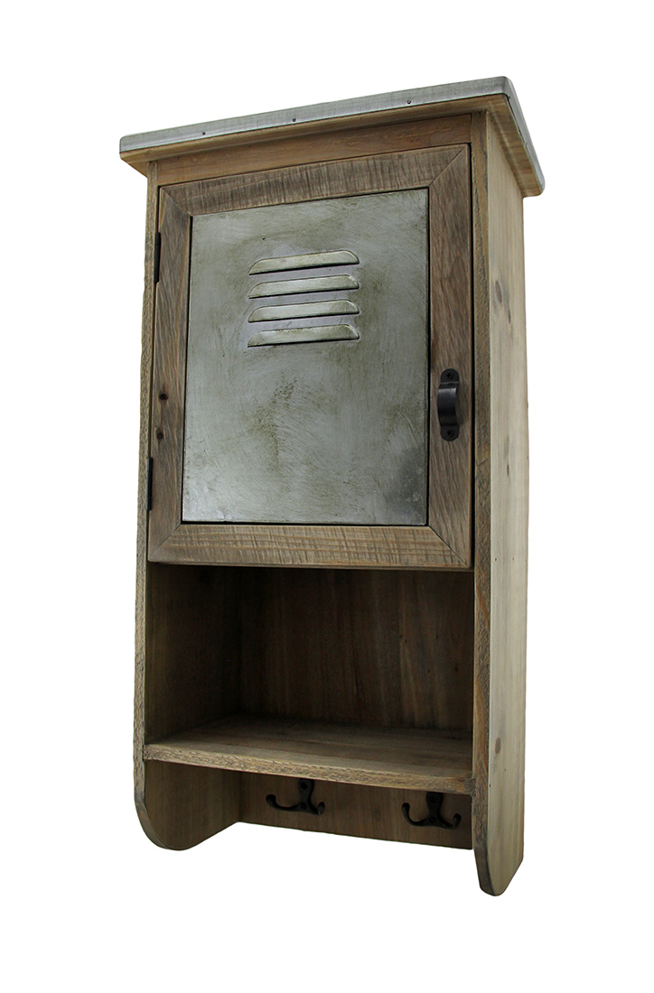 rustic reclaimed wood wall cabinet w shelf and hooks 20 in. Black Bedroom Furniture Sets. Home Design Ideas