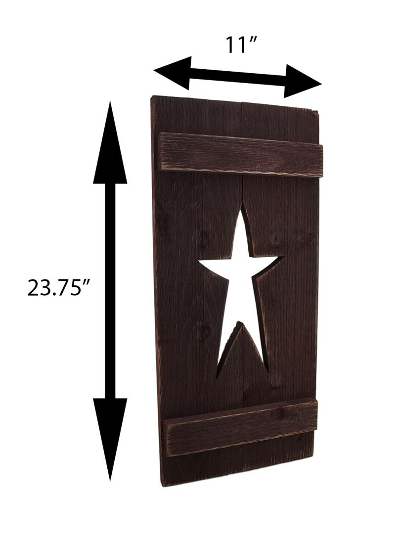 thumbnail 8 - Zeckos Rustic Cutout Star Decorative Wood Shutter Wall Hanging 24 inch