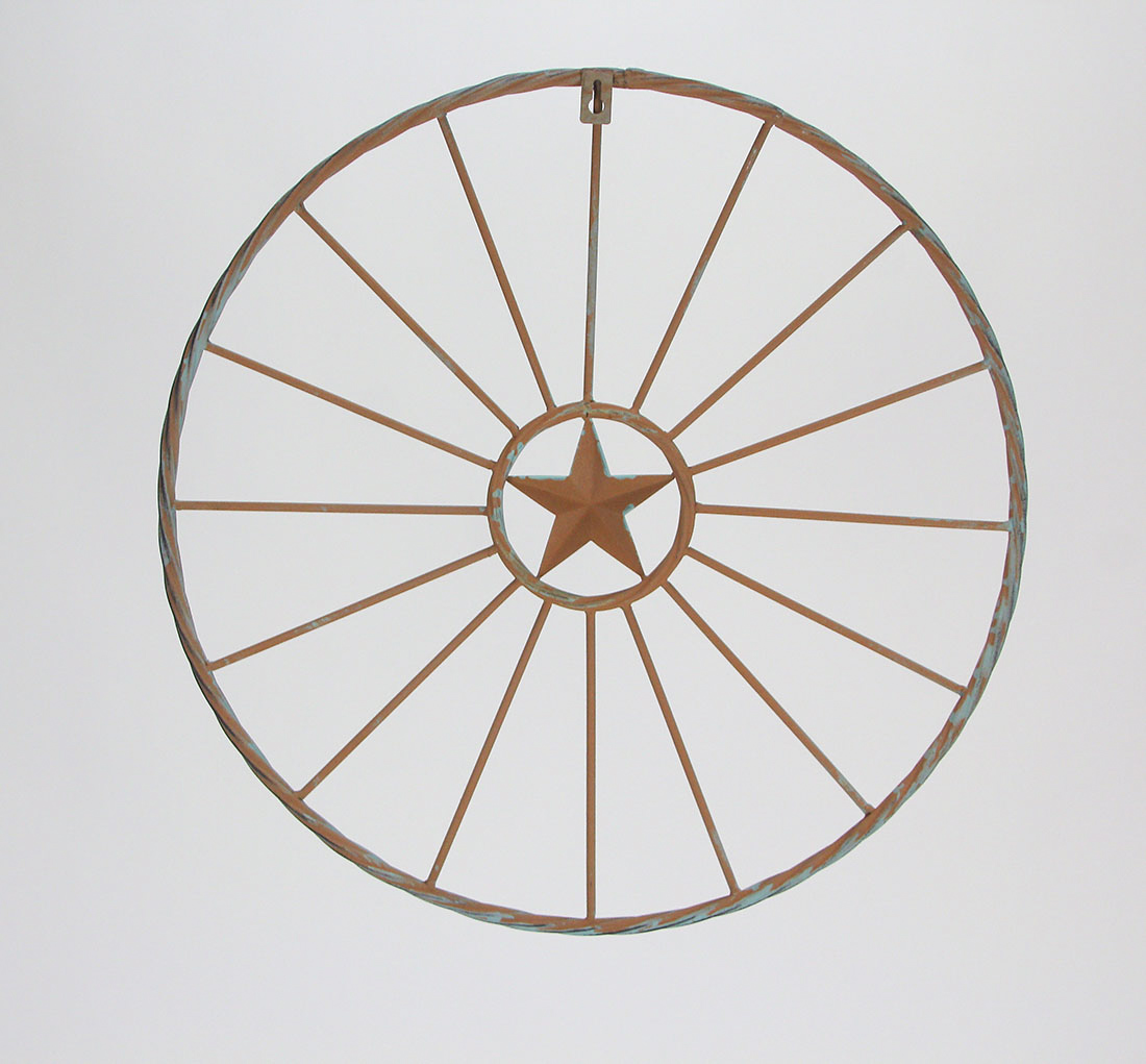 thumbnail 7 - 18 Inch Metal Round Star Plaque Rustic Hand Paint Aged Wall Hanging Art Decor