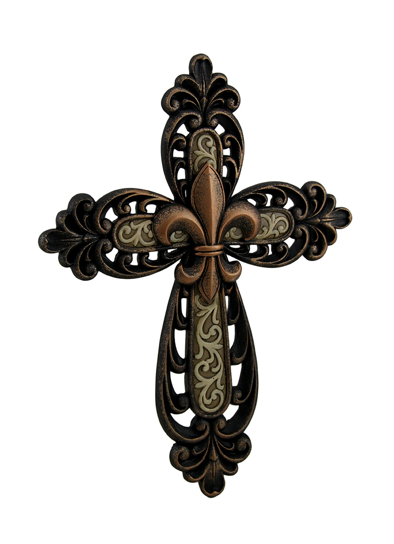Bronze finished ornate fleur de lis wall mounted cross ebay Fleur de lis wall