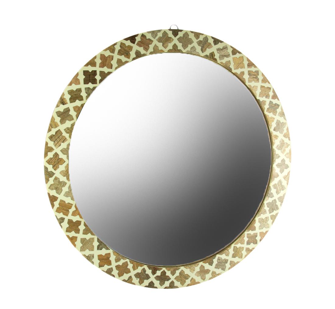 Mosaic Mango Wood Quatrefoil Frame Round Wall Mirror 23 inch   eBay
