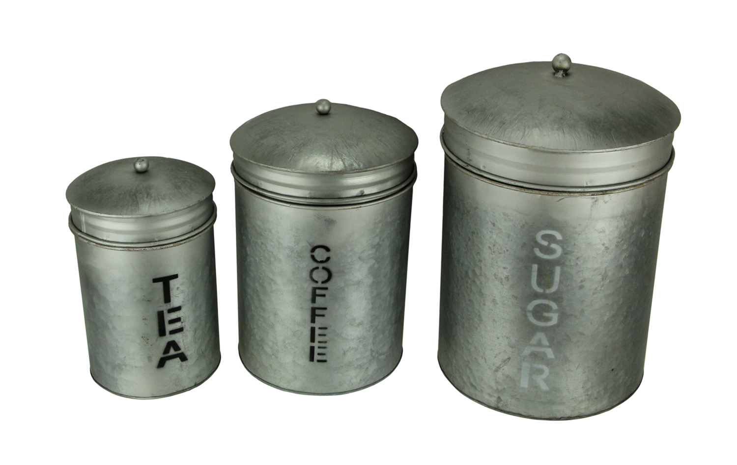Details about Grey Galvanized Finish Metal Sugar Coffee Tea Kitchen  Canister Set