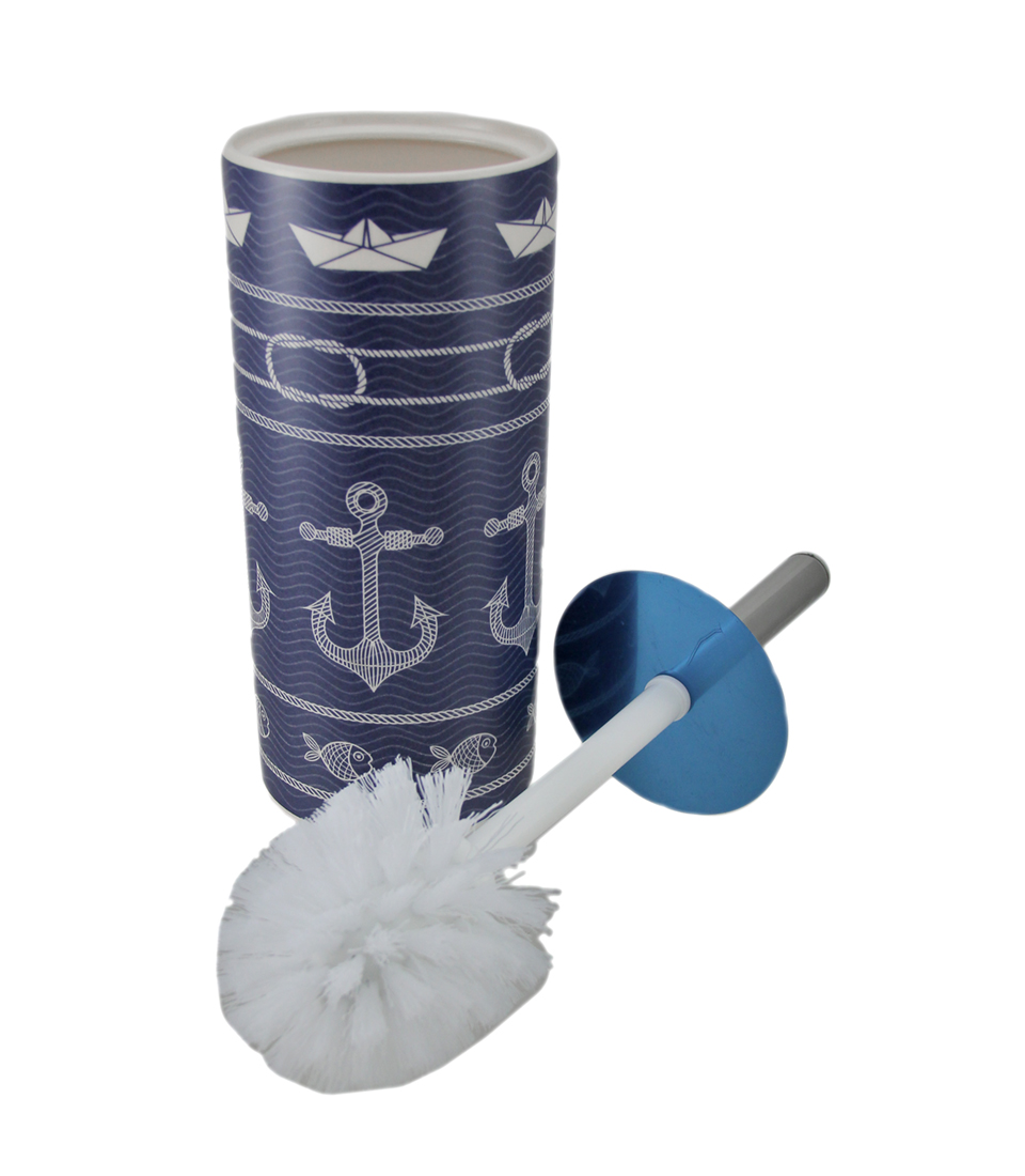 Blue and White Coastal Anchor Print Ceramic Toilet Brush and Holder ...