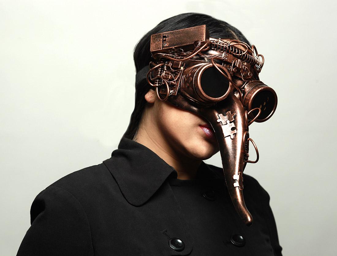 Steampunk Plague Doctor Theater Masquerade Mask Light Up Metallic Silve M39073