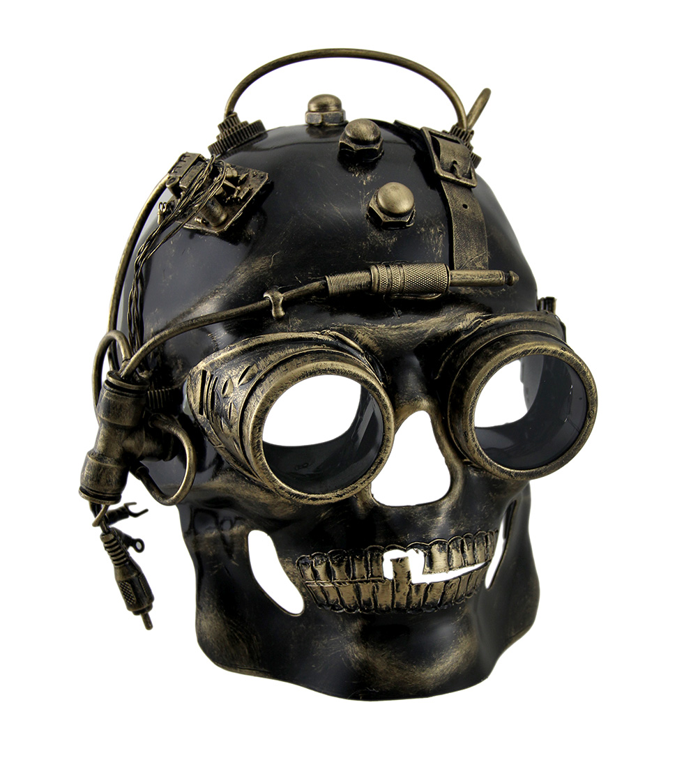 cyborg skull metallic finish steampunk skull with goggles