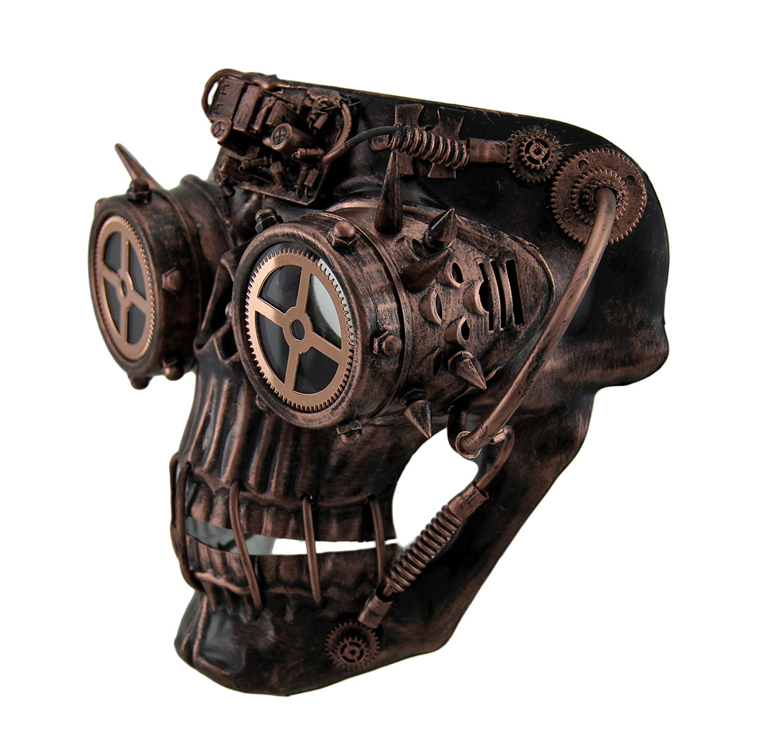 Steamskully Metallic Finish Steampunk Skull With Spiked Goggles ...
