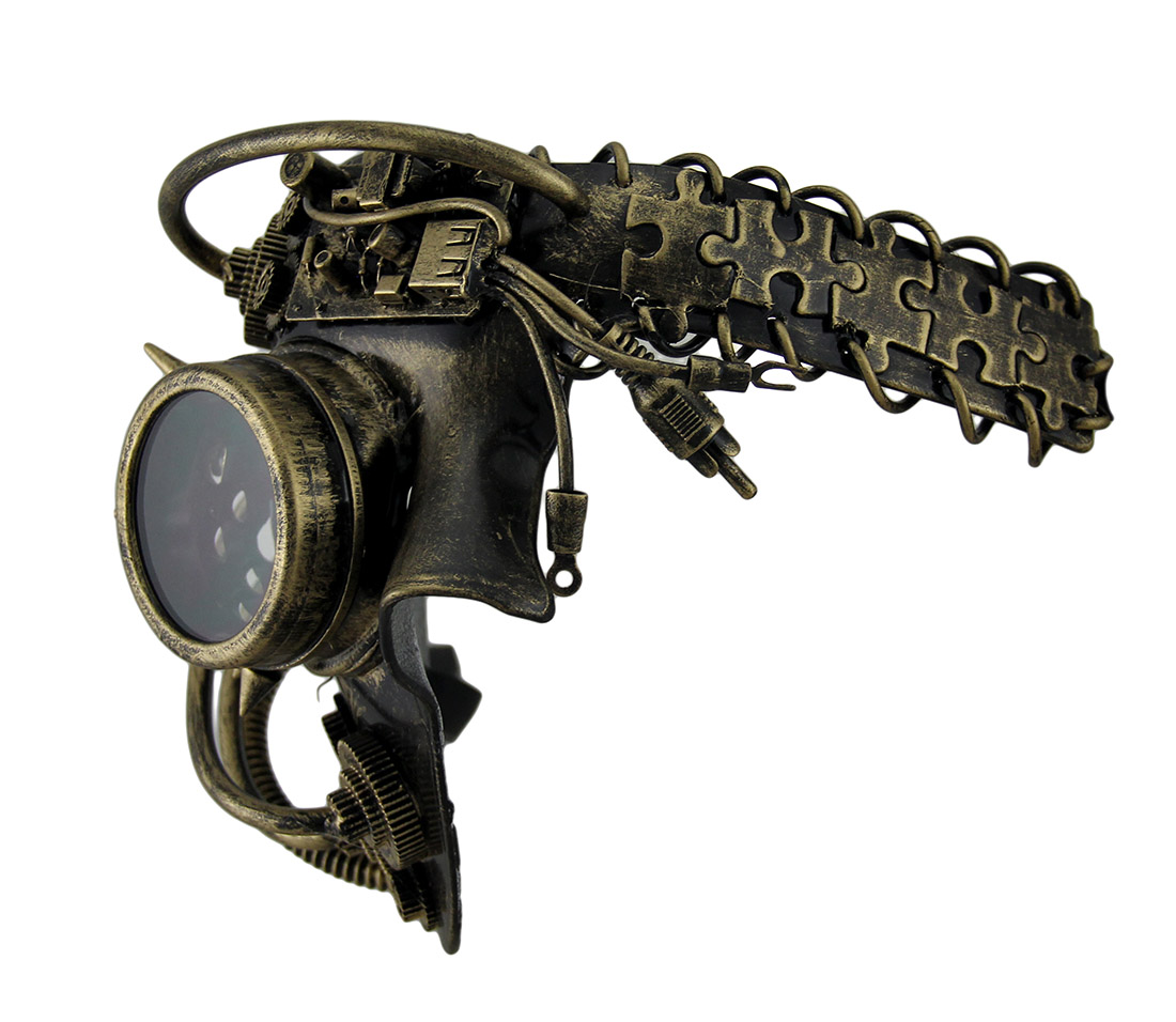 Dan Droid Steampunk Cyborg Spiked One Eyed Metallic Halloween Mask ...