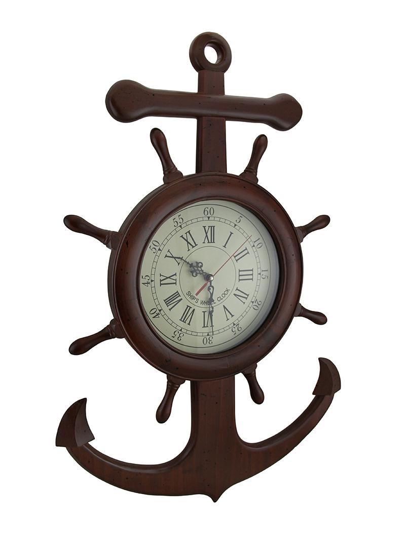 Wooden ship wheel and anchor nautical wall clock zeckos amipublicfo Images
