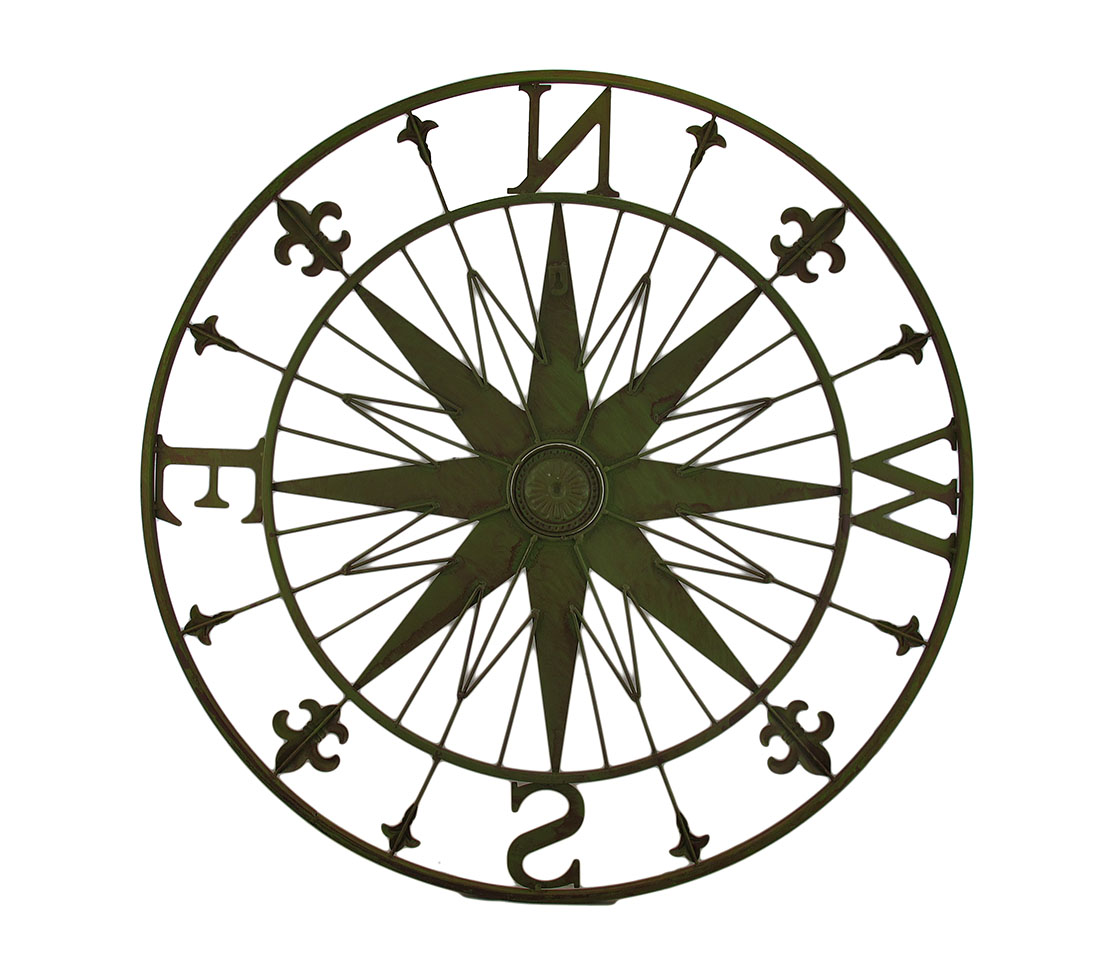 Zeckos-Compass-Rose-Fleur-De-Lis-Vintage-Finish-Metal-Wall-Hanging miniature 7