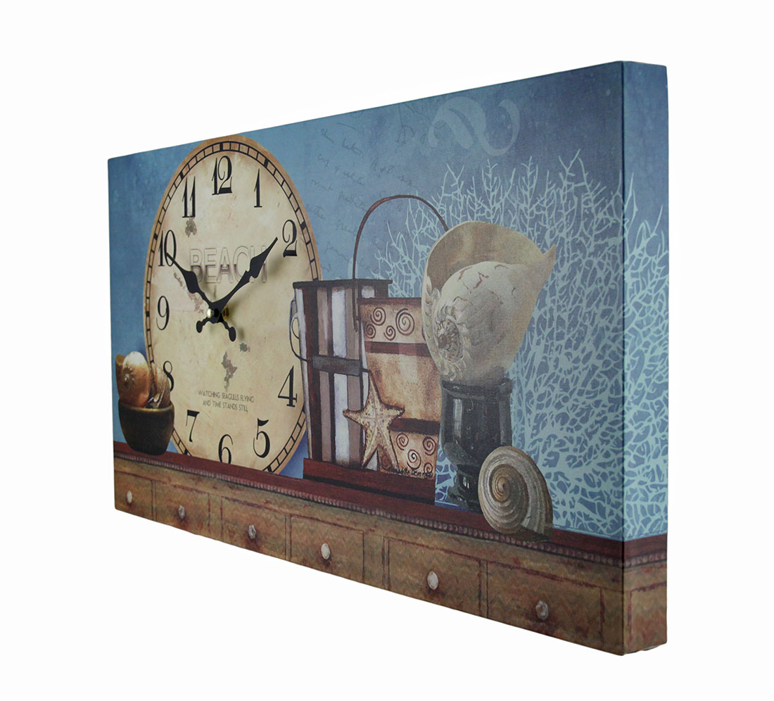 beach themed decorative wood wall clock ebay. Black Bedroom Furniture Sets. Home Design Ideas