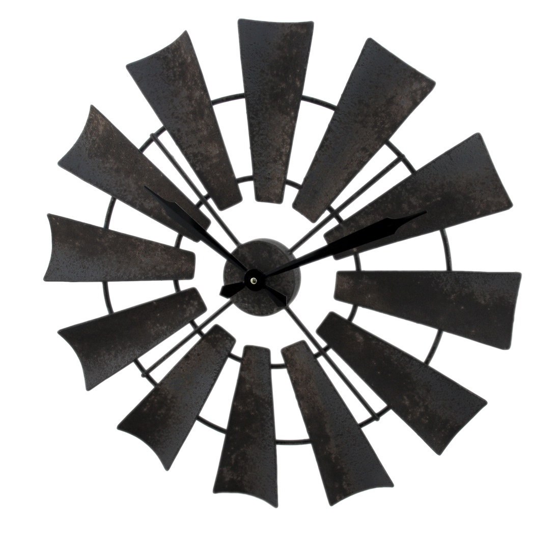 Zeckos rustic distressed metal windmill wall clock 22 inch ebay zeckos rustic distressed metal windmill wall clock 22 amipublicfo Images
