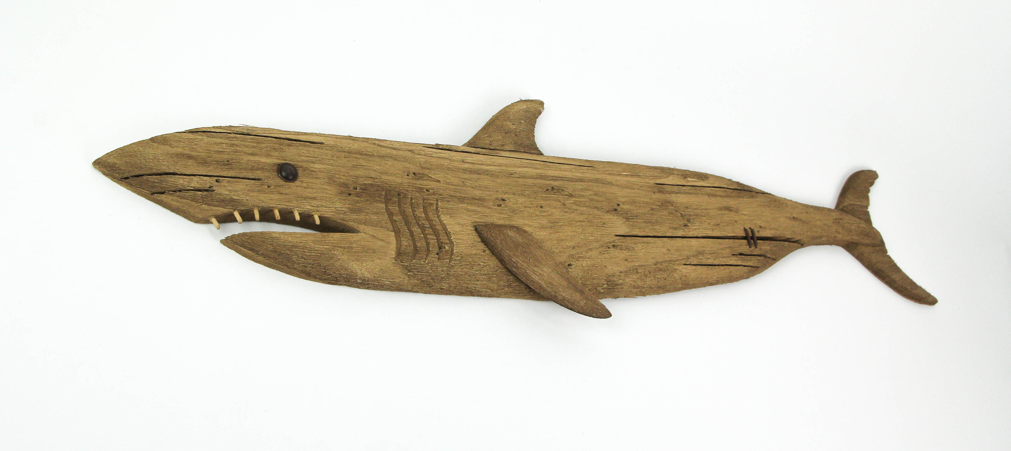 thumbnail 3 - Carved Recycled Wood Great White Shark Wall Sculpture 36 Inches Long