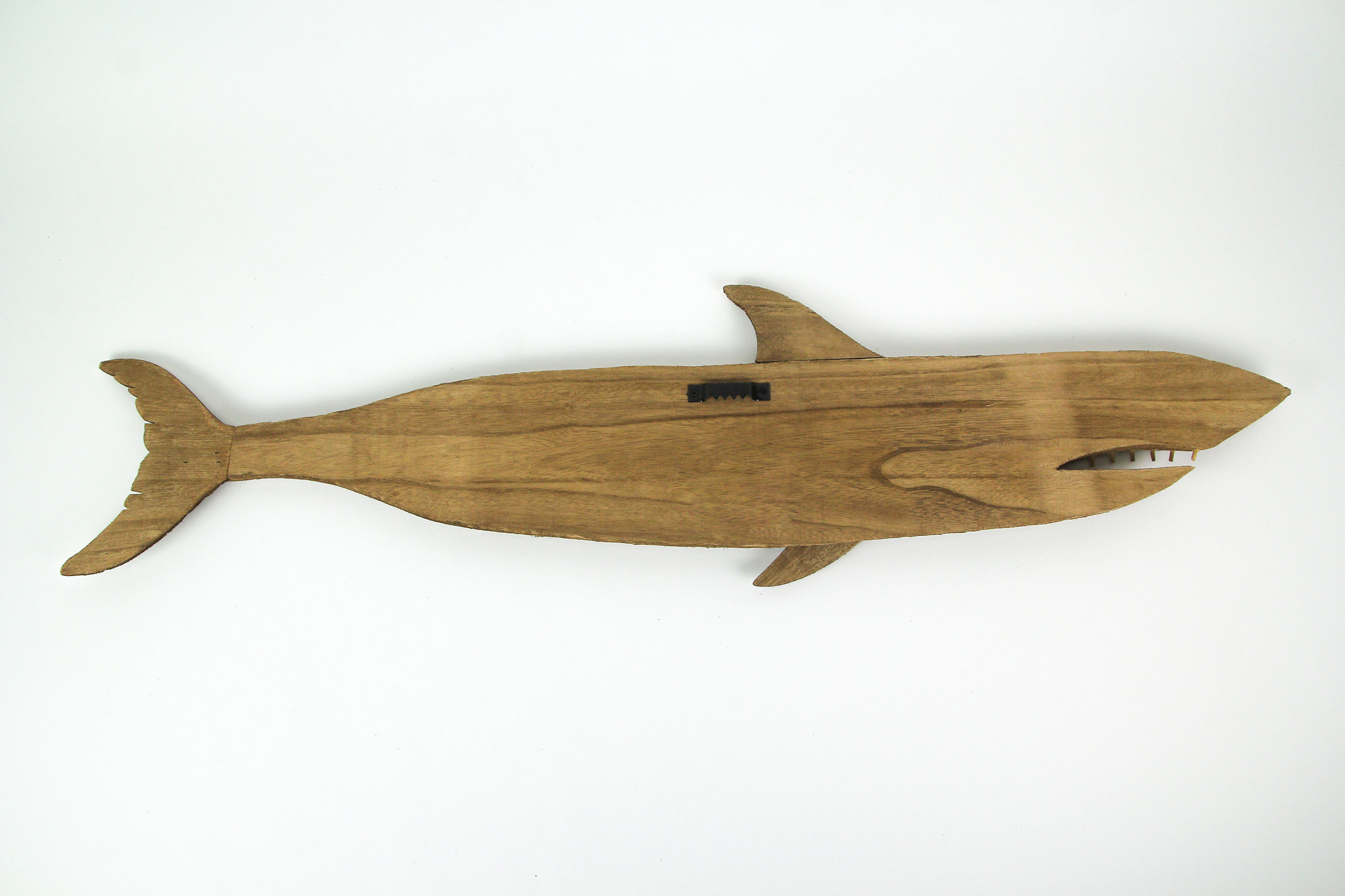 thumbnail 4 - Carved Recycled Wood Great White Shark Wall Sculpture 36 Inches Long