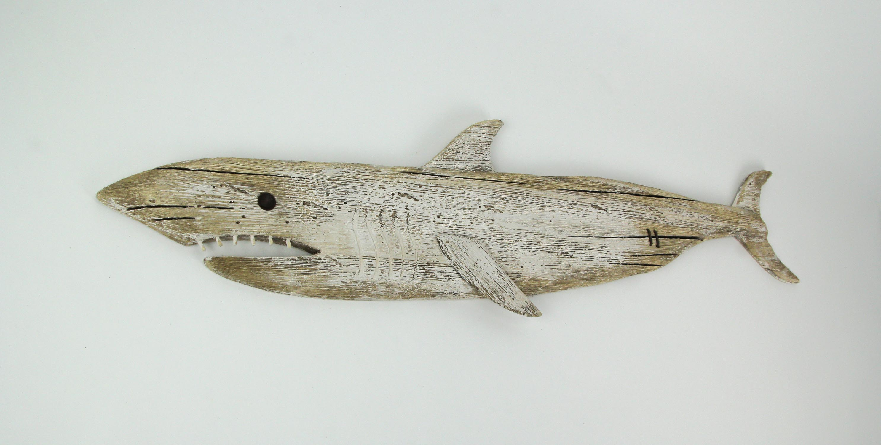 thumbnail 6 - Carved Recycled Wood Great White Shark Wall Sculpture 36 Inches Long