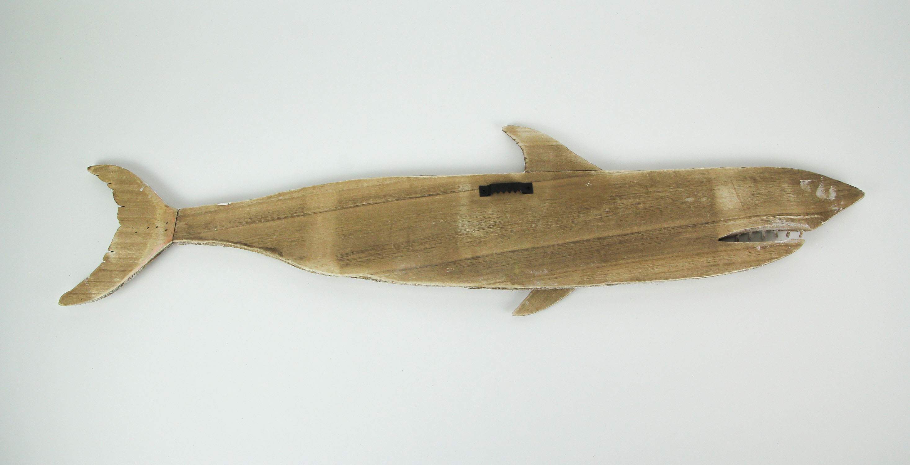 thumbnail 7 - Carved Recycled Wood Great White Shark Wall Sculpture 36 Inches Long