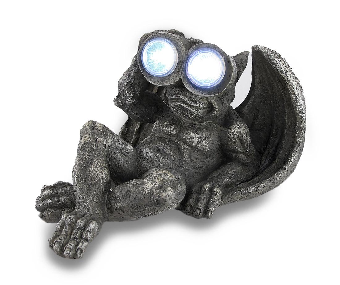 Zeckos Stone Finish Lounging Gargoyle Solar Eyes LED Solar Light Statue