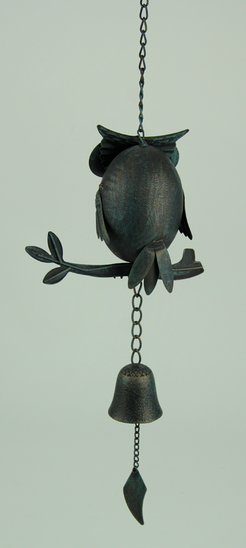 Tin Owl On Branch Wind Chime With Cast Iron Bell