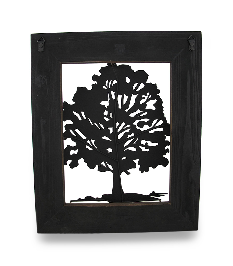 Metal rustic finish tree silhouette on wood frame wall hanging metal rustic finish tree silhouette on wood frame wall hanging zeckos jeuxipadfo Image collections