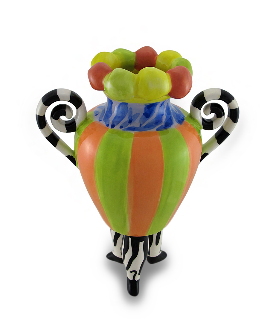 Erich Emmenegger Colorful 3-Legged Striped Jester Vase 10 in.