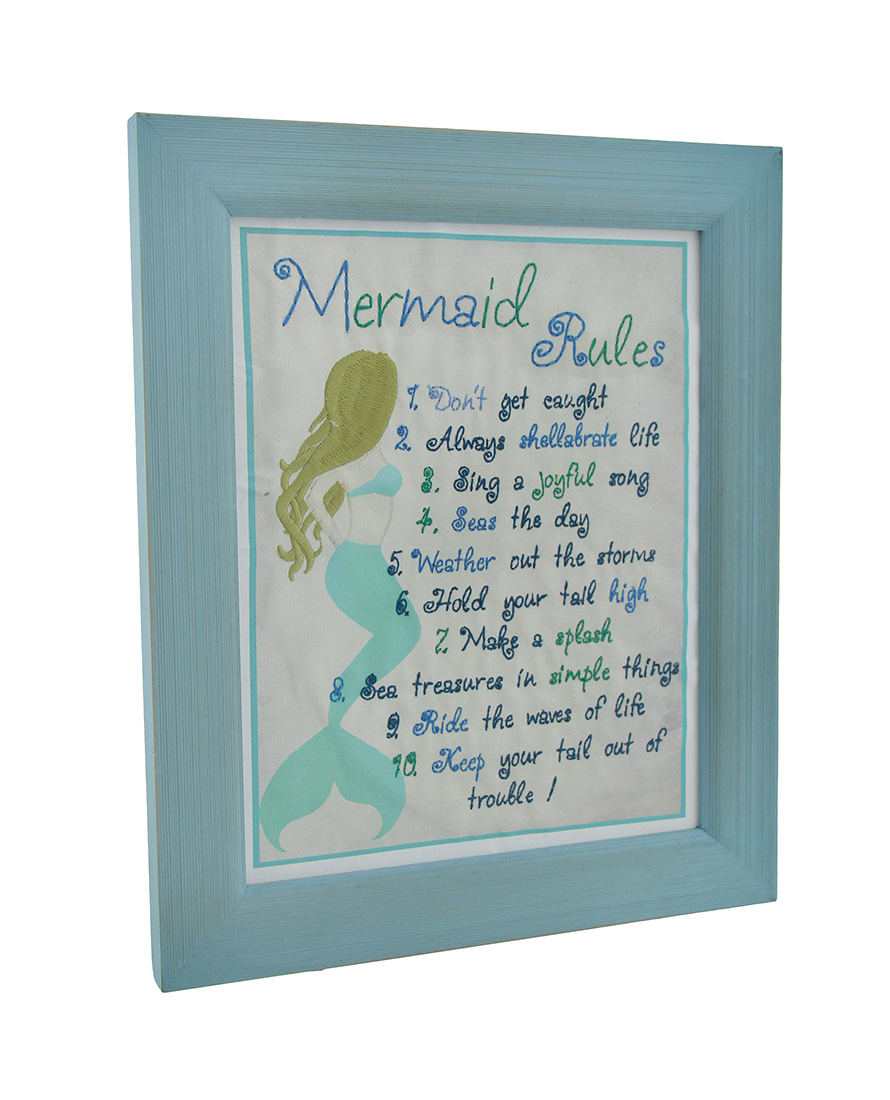 Scratch dent embroidered mermaid rules framed wall hanging zeckos jeuxipadfo Image collections