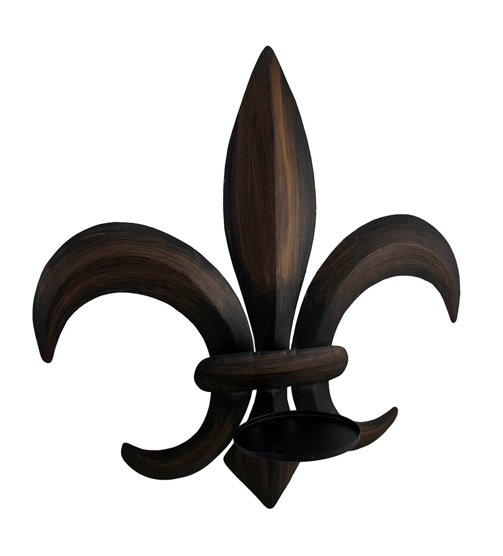Antique bronze finish fleur de lis metal candle wall Fleur de lis wall