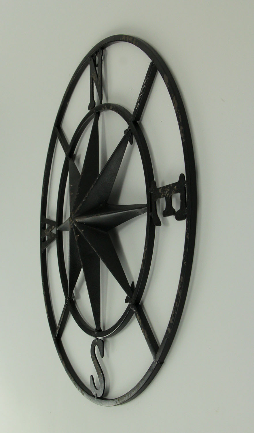 thumbnail 3 - Distressed-Metal-Compass-Rose-Indoor-Outdoor-Wall-Hanging