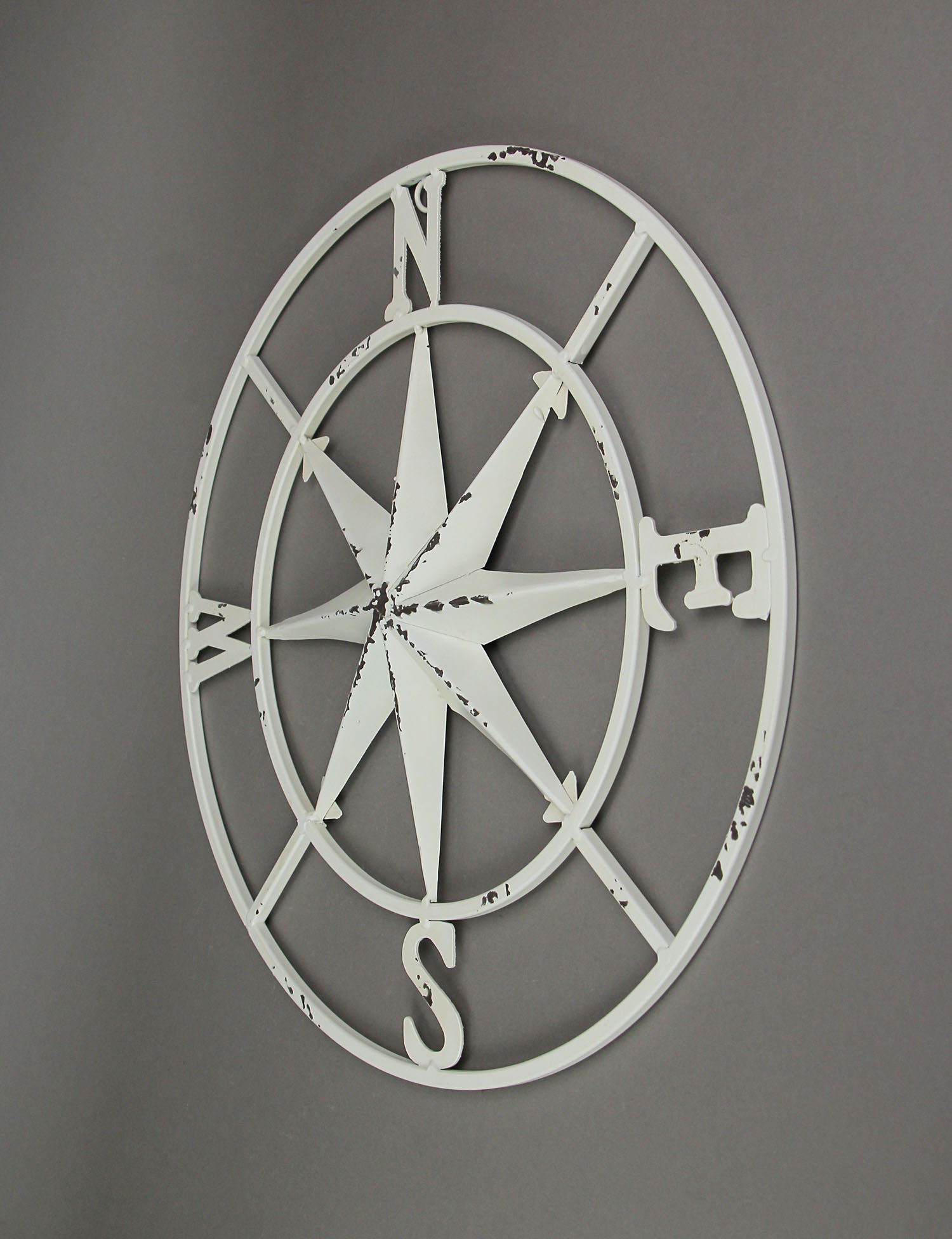 thumbnail 12 - Distressed-Metal-Compass-Rose-Indoor-Outdoor-Wall-Hanging
